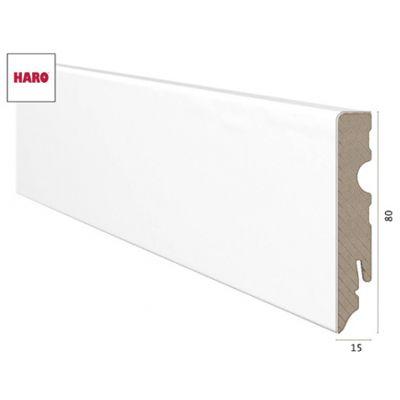 Haro - Plinthe blanche à emboîter recouvert de MDF - (16 x 58 x 2400 mm)
