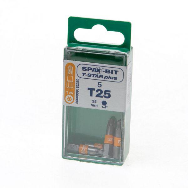 Boîte de 5 Embouts Pour Vis SPAX T25 (L = 25 mm)
